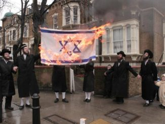 Des juifs antisionistes brûlent le drapeau israélien. (Photo via Twitter)