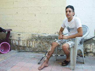 Eyad, un Palestinien de 22 ans blessé le 14 mai 2018. Gaza.